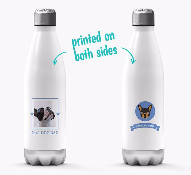 'No.1 Dog Dad'- Personalized French Bulldog Water Bottle