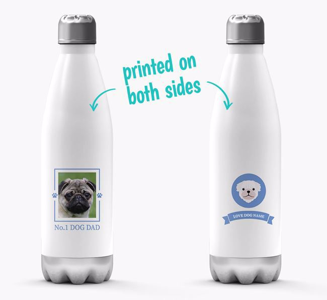 'No.1 Dog Dad'- Personalized Pug Water Bottle