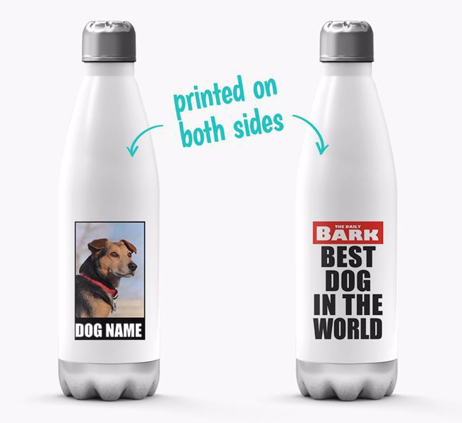 'Best Dog in the World'- Personalized Photo Upload Bich-poo Water Bottle