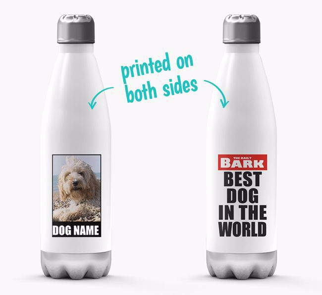 'Best Dog in the World'- Personalized Photo Upload Cockapoo Water Bottle