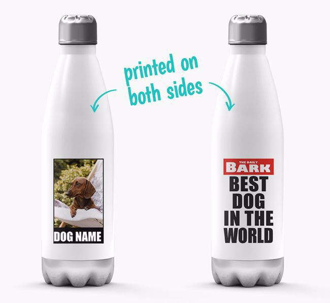 'Best Dog in the World'- Personalized Photo Upload Dachshund Water Bottle