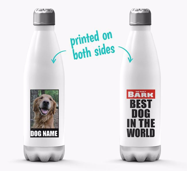 'Best Dog in the World'- Personalized Photo Upload Golden Retriever Water Bottle