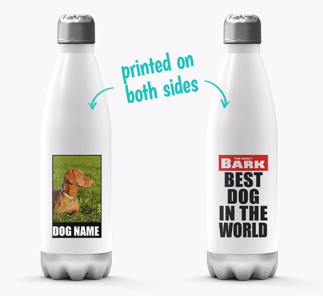 'Best Dog in the World'- Personalized Photo Upload Dog Water Bottle