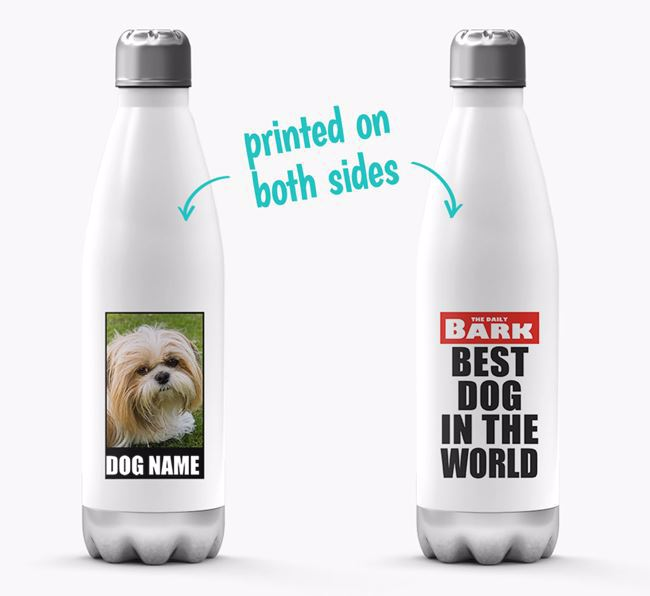 'Best Dog in the World'- Personalized Photo Upload Shih Tzu Water Bottle