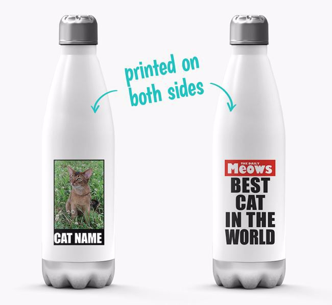 'Best Cat in the World'- Personalised Photo Upload Cat Water Bottle