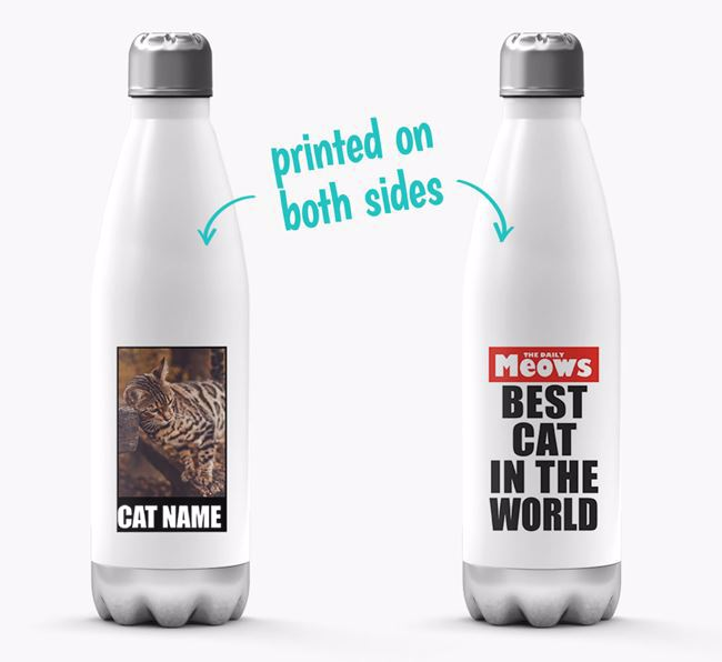 'Best Cat in the World'- Personalized Photo Upload Bengal Water Bottle