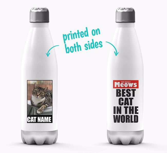 'Best Cat in the World'- Personalized Photo Upload Cat Water Bottle