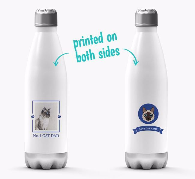 'No.1 Cat Dad' - Personalized Balinese Water Bottle