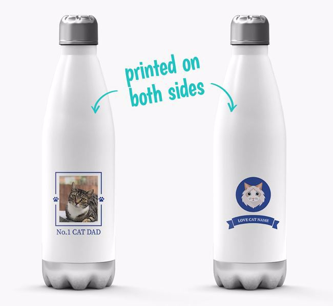 'No.1 Cat Dad' - Personalised Cat Water Bottle