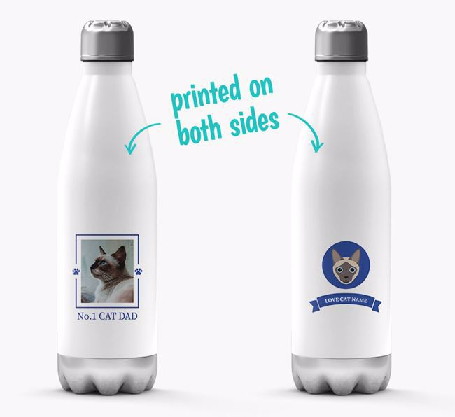 'No.1 Cat Dad' - Personalised Siamese Water Bottle