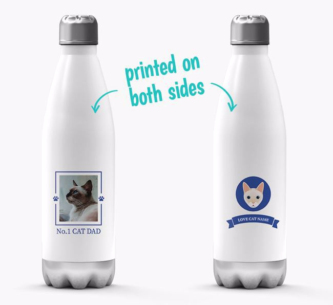 'No.1 Cat Dad' - Personalized Siamese Water Bottle