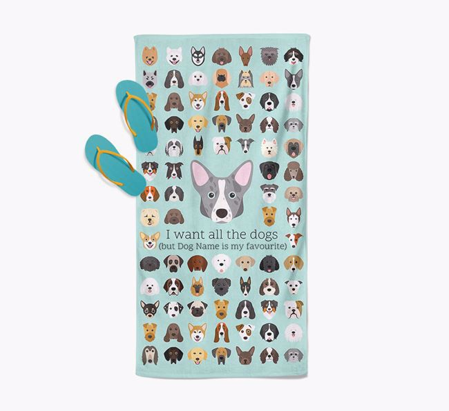 'I Want All The Dogs' - Personalised Corgi Towel
