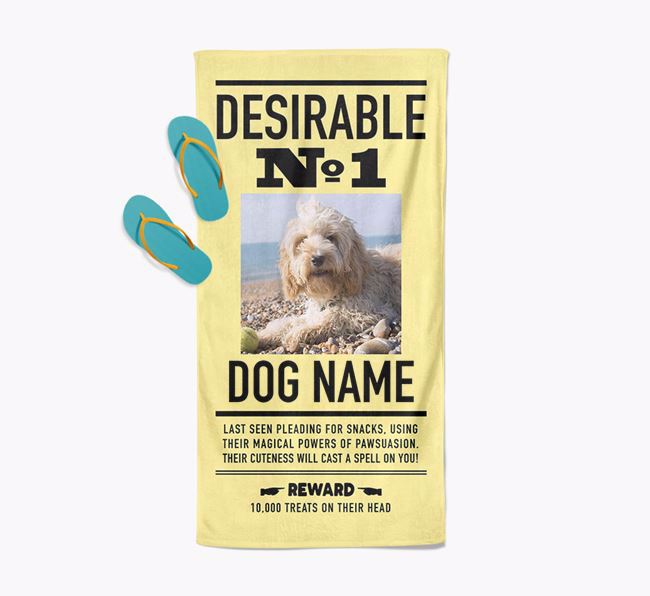 'Desirable No. 1' - Personalised Dog Towel