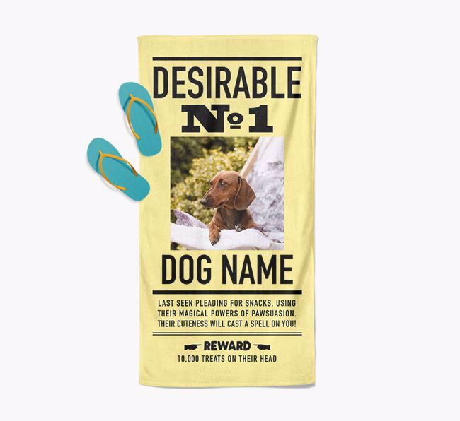 'Desirable No. 1' - Personalised Dachshund Towel