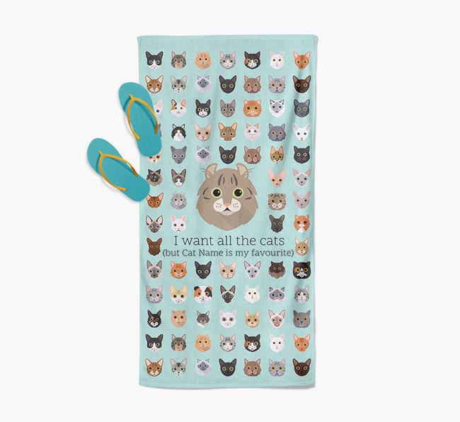 'I Want All The Cats' - Personalised Cat Towel