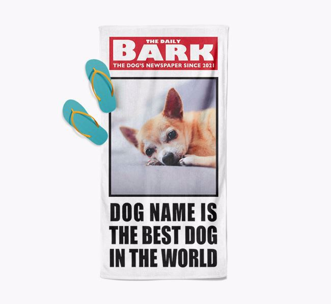 'Best Dog In The World' - Personalised Photo Upload Chihuahua Towel