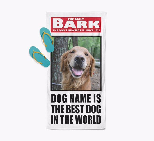 'Best Dog In The World' - Personalised Photo Upload Golden Retriever Towel