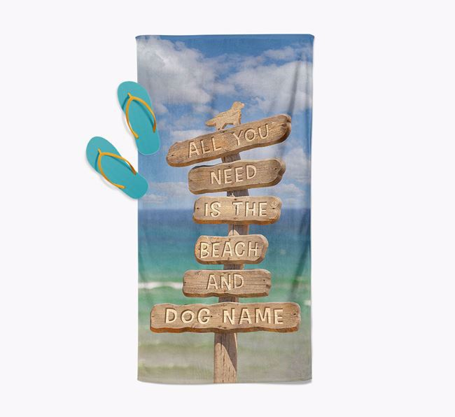 'All You Need Is The Beach and Your Dog' - Personalised Golden Retriever Towel