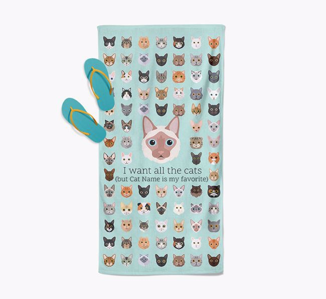 'I Want All The Cats' - Personalized Balinese Towel