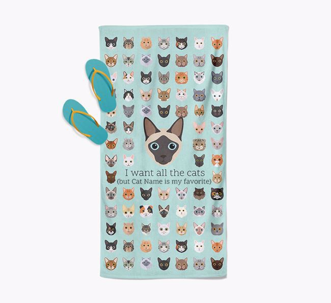 'I Want All The Cats' - Personalized Siamese Towel