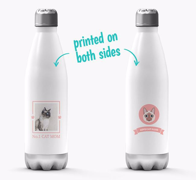 'No.1 Cat Mom' - Personalized Balinese Water Bottle