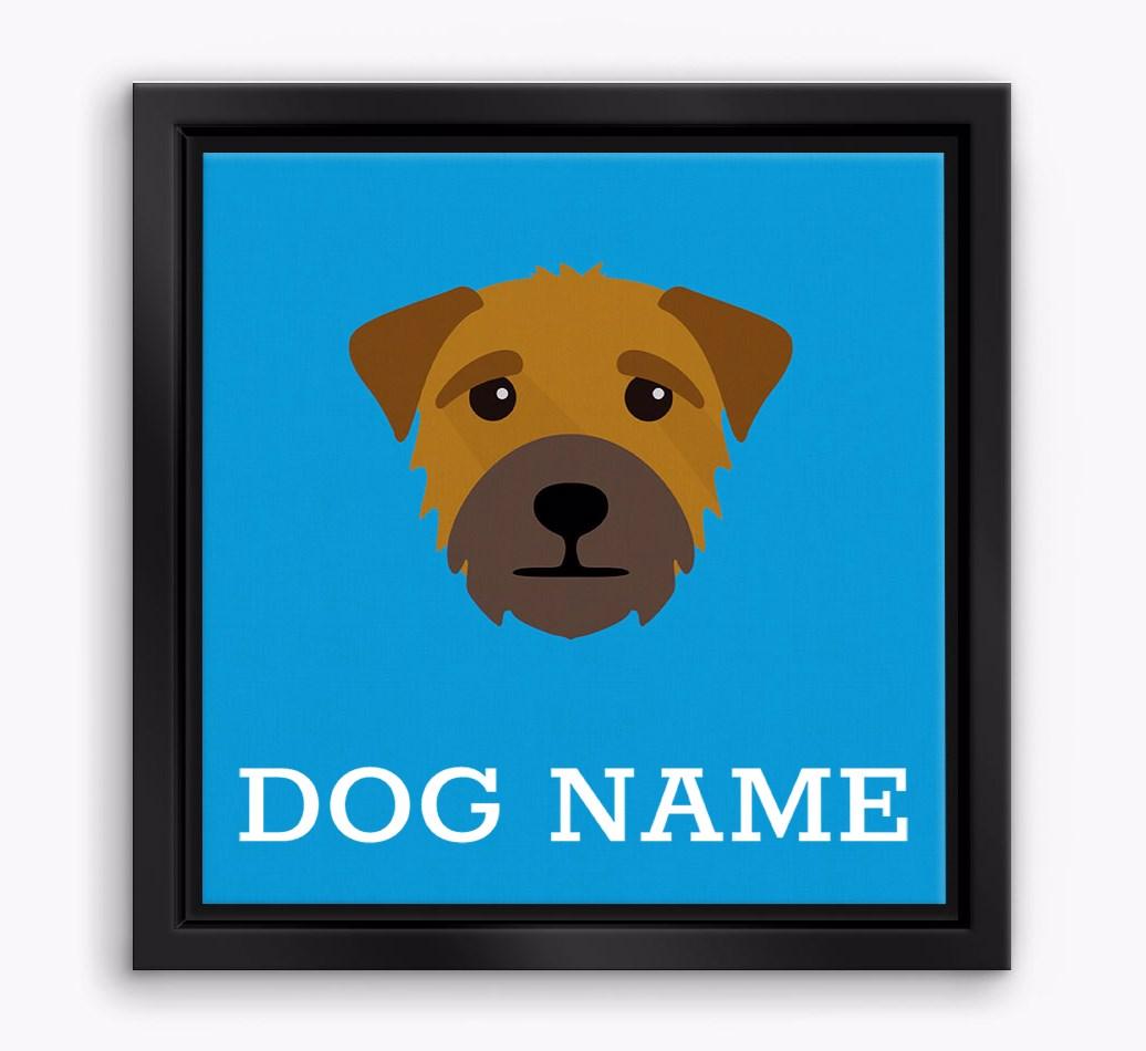 Personalised 'Yappicon' Border Terrier Boxed Canvas Print