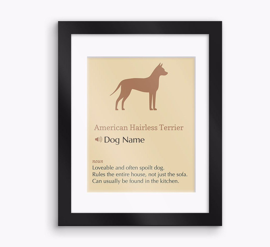 Personalised 'Definition' American Hairless Terrier Framed Print - Black Frame