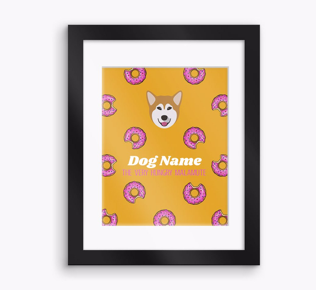 Personalised 'The very hungry...' Alaskan Malamute Framed Print - Black Frame