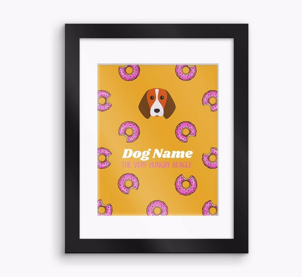 Personalised 'The very hungry...' Beagle Framed Print - Black Frame