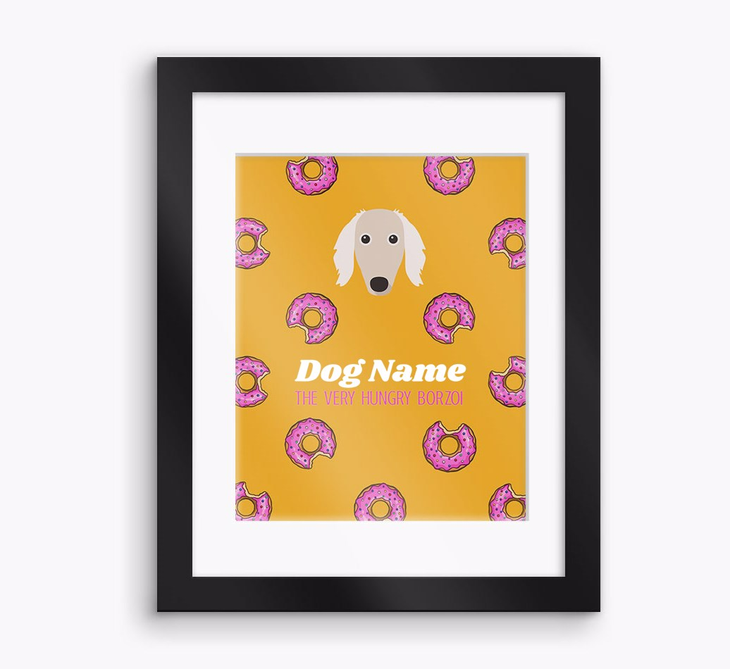 Personalised 'The very hungry...' Borzoi Framed Print - Black Frame