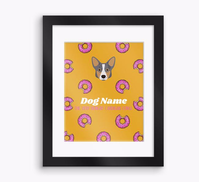 Personalised 'Your Dog the very hungry Cardigan Corgi' Framed Print