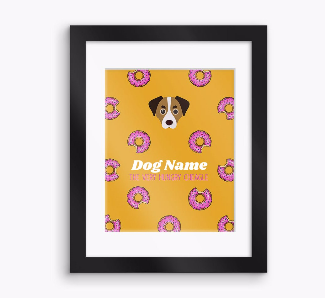 Personalised 'The very hungry...' Cheagle Framed Print - Black Frame