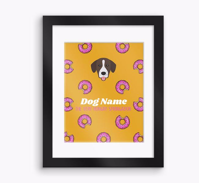 Personalised 'Your Dog the very hungry Springador' Framed Print