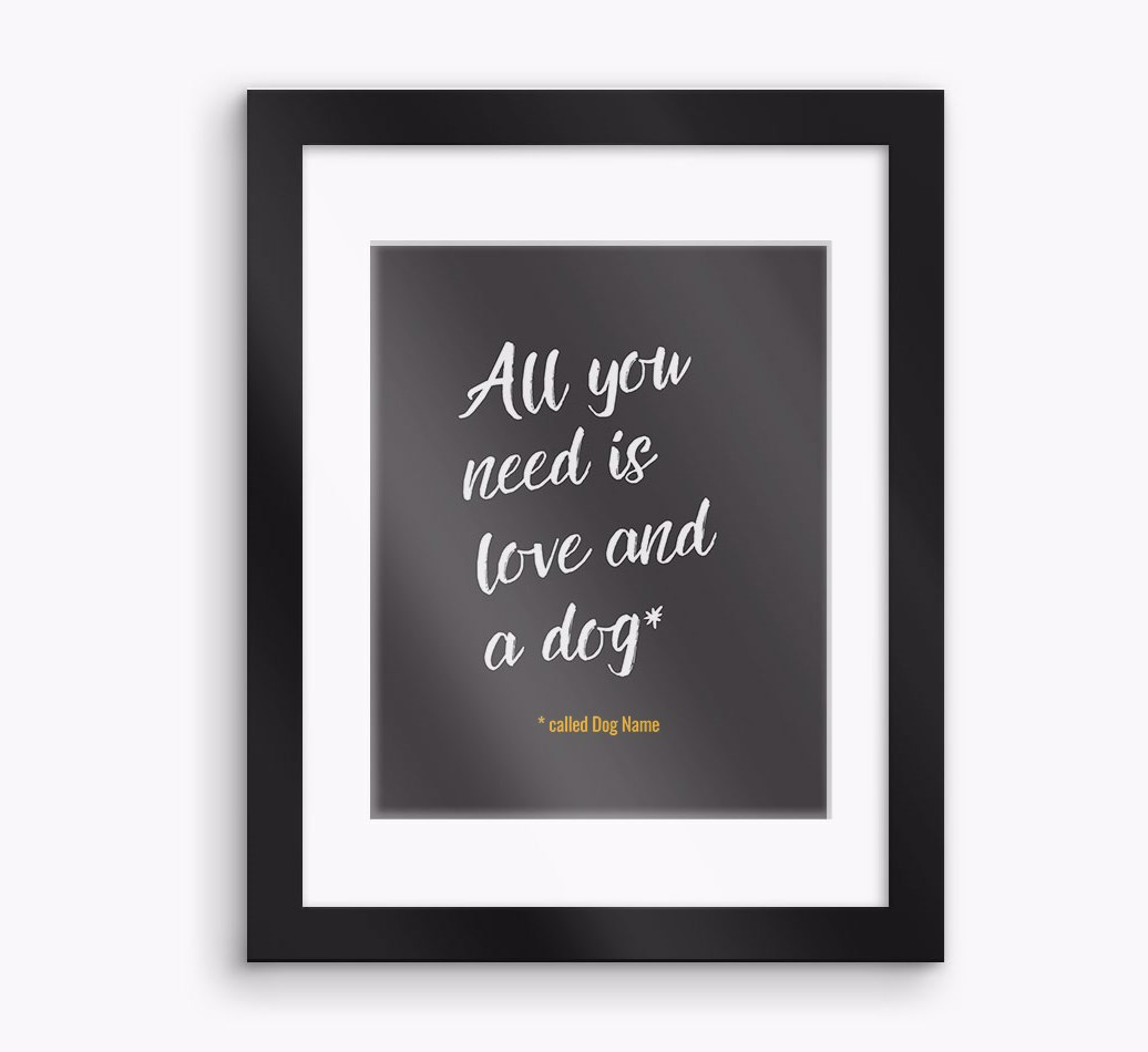 Personalised 'All You Need is...' Blue Lacy Framed Print - Black Frame