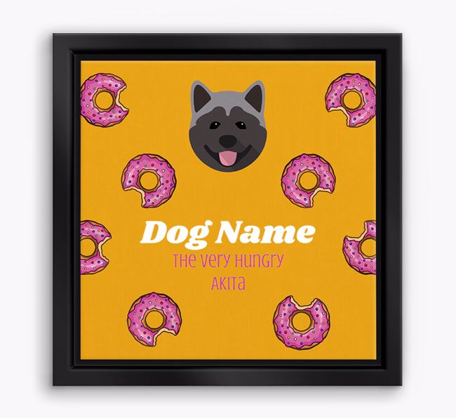 'Your Dog the hungry Akita' Boxed Canvas Print