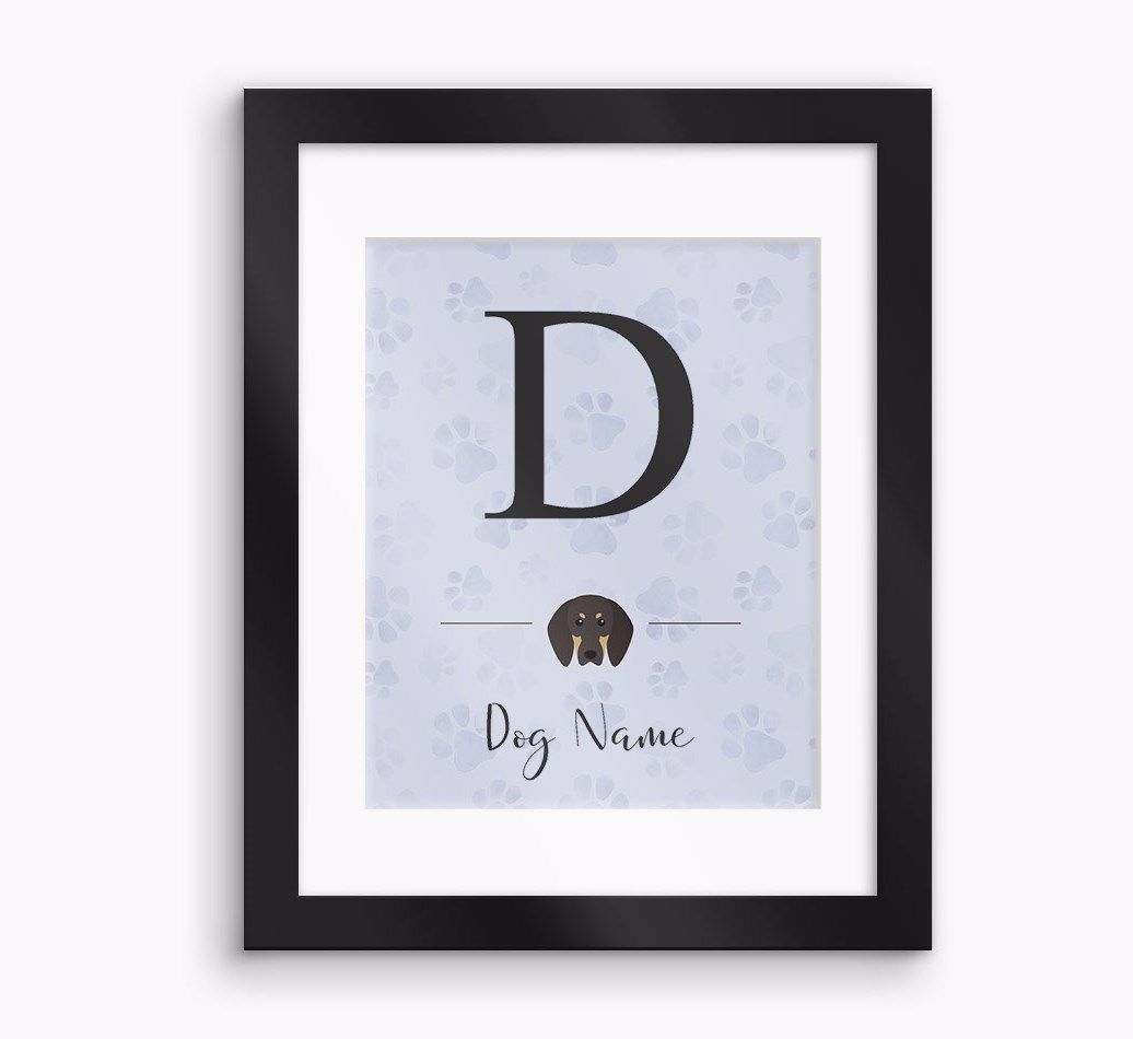Personalised 'Initial' Black and Tan Coonhound Framed Print - Black Frame