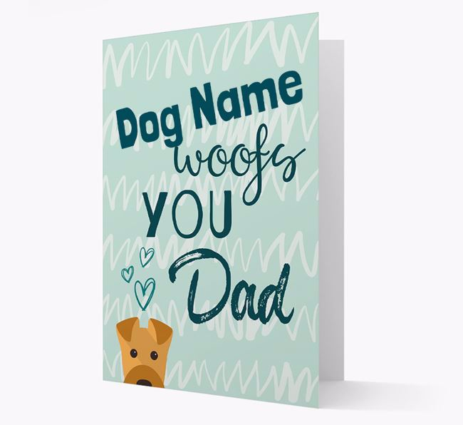 Personalized Airedale Terrier 'Your Dog woofs you, Dad' Card
