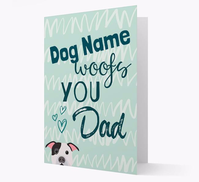 Personalized American Bulldog 'Your Dog woofs you, Dad' Card