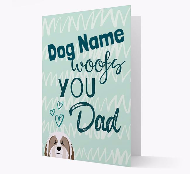 Personalized Bearded Collie 'Your Dog woofs you, Dad' Card