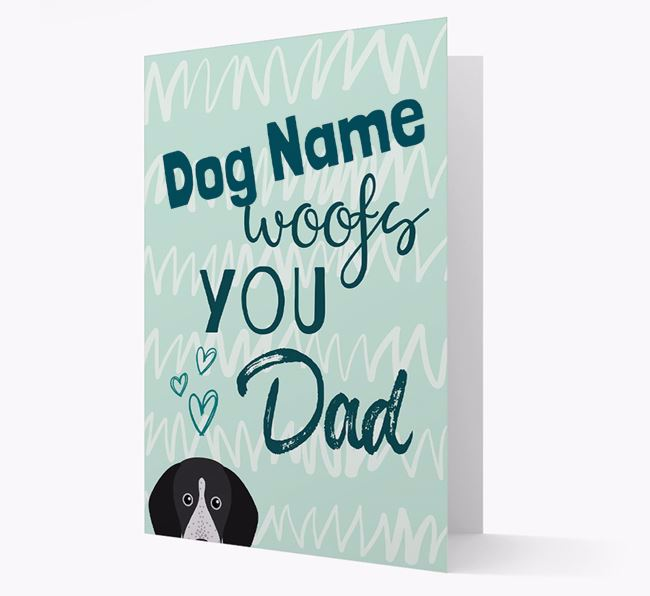 Personalised English Coonhound 'Your Dog woofs you, Dad' Card