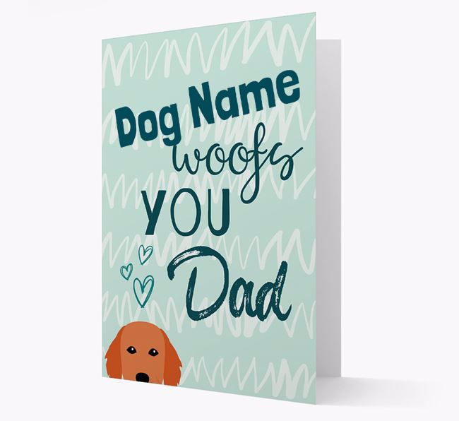 Personalized Flat-Coated Retriever 'Your Dog woofs you, Dad' Card