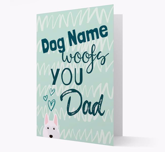 Personalized German Shepherd 'Your Dog woofs you, Dad' Card