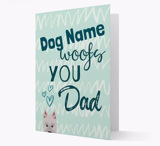 Personalised Picardy Sheepdog 'Your Dog woofs you, Dad' Card