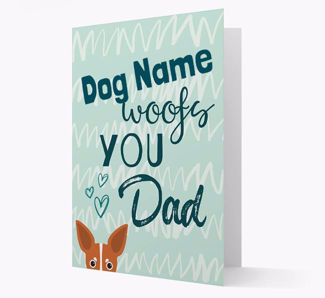 Personalised Russian Toy 'Your Dog woofs you, Dad' Card