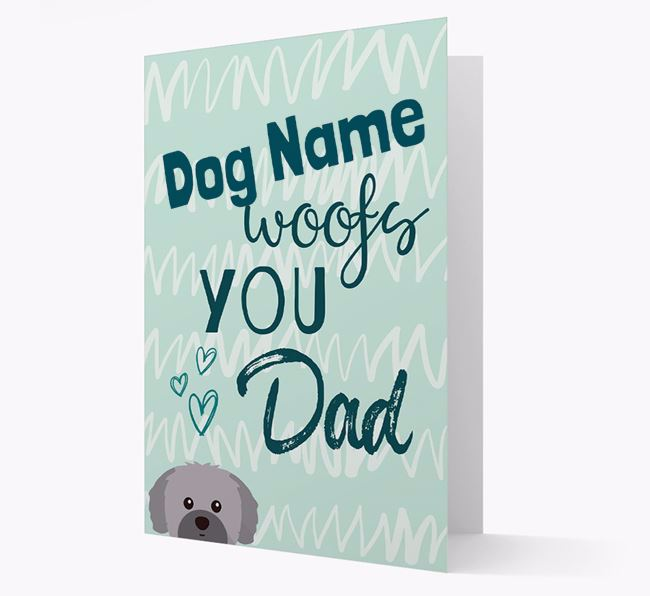 Personalized Shih Tzu 'Your Dog woofs you, Dad' Card
