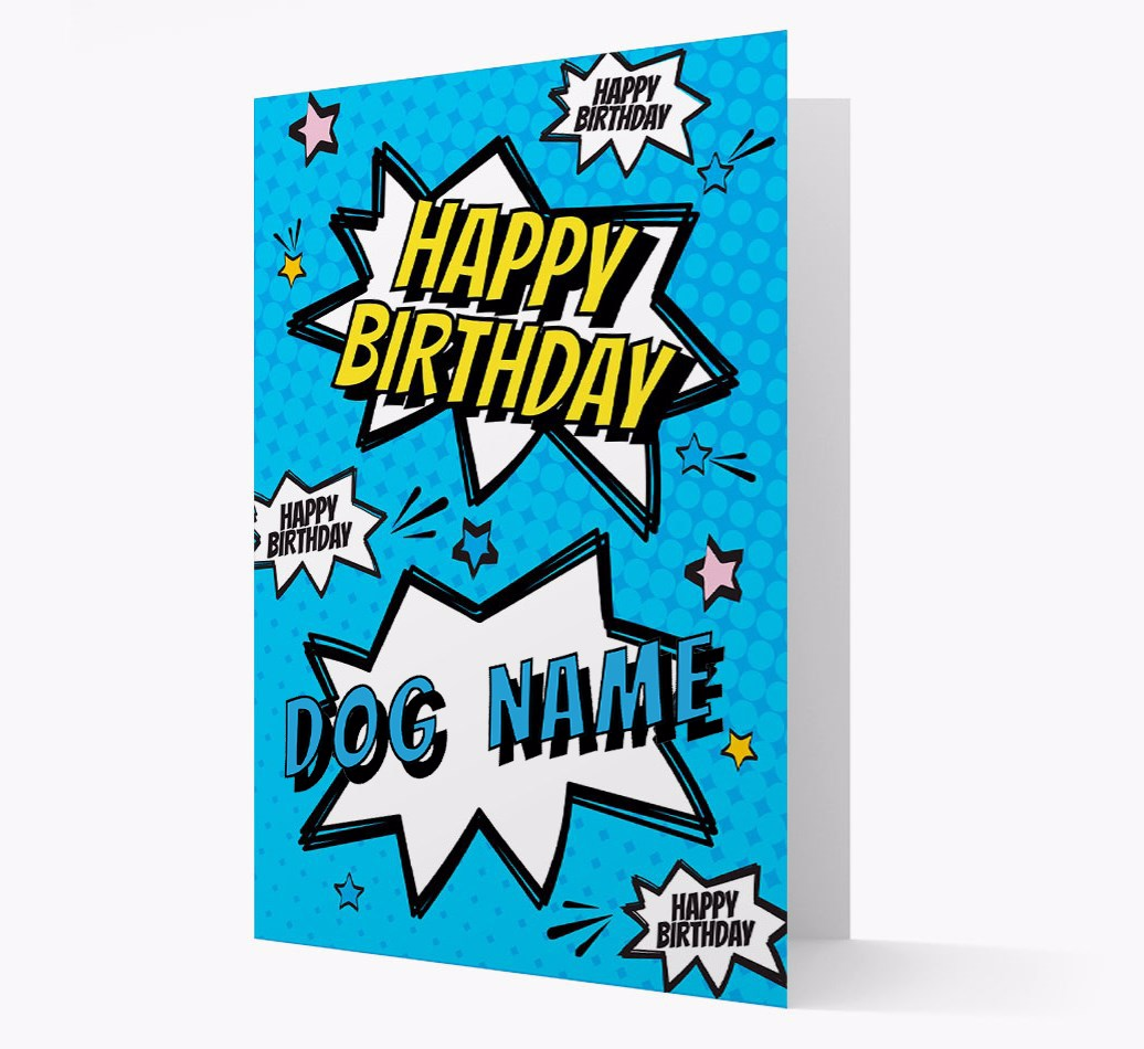 Personalized 'Happy Birthday {dogsName}' Comic Style Card