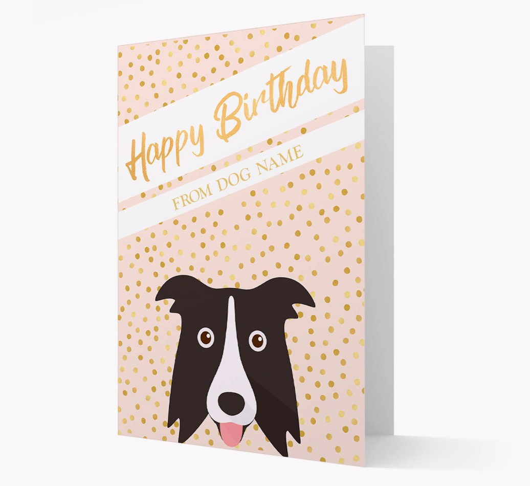 Personalised 'Happy Birthday' Gold Detail Card with Border Collie Yappicon