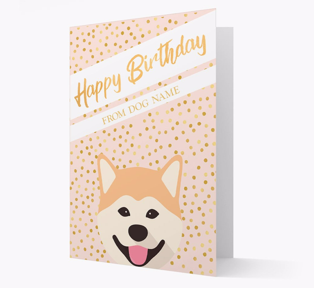 Personalized 'Happy Birthday' Gold Detail Card with Japanese Akita Yappicon
