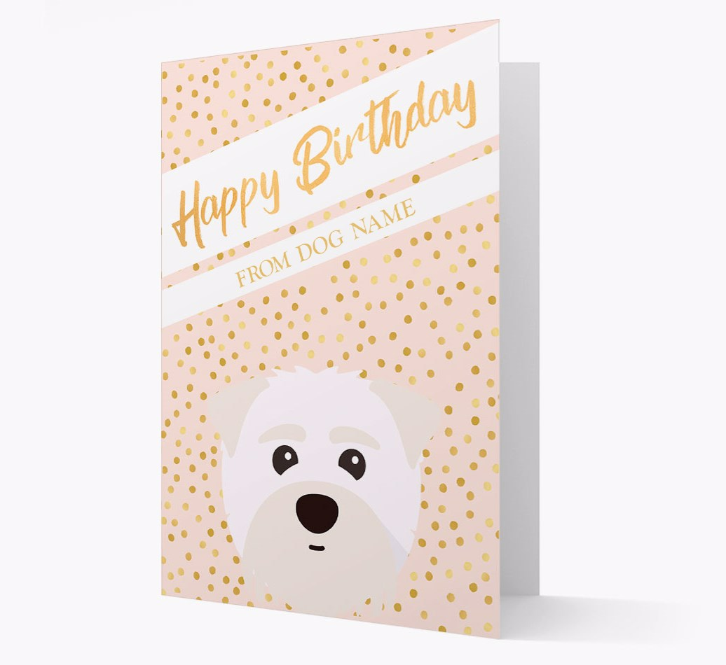 Personalized 'Happy Birthday' Gold Detail Card with Maltipom Yappicon