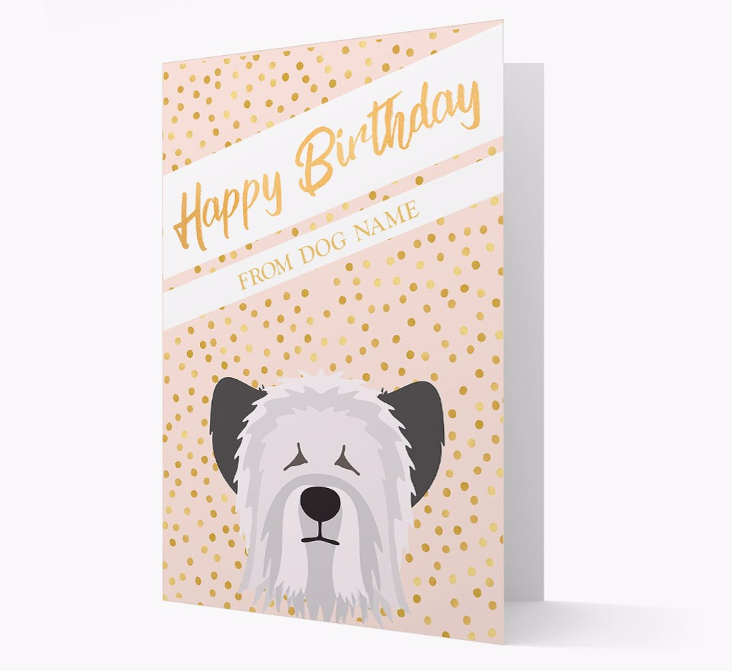 Personalized 'Happy Birthday' Gold Detail Card with Skye Terrier Yappicon